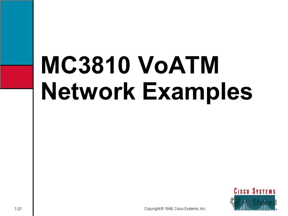 MC3810 VoATM Network Examples 7-27 Copyright © 1998, Cisco Systems, Inc.