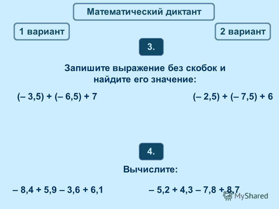 Математический диктант 4. Вычислите: 3. 1 вариант 2 вариант Запишите выражение без скобок и найдите его значение: (– 3,5) + (– 6,5) + 7 (– 2,5) + (– 7,5) + 6 – 8,4 + 5,9 – 3,6 + 6,1– 5,2 + 4,3 – 7,8 + 8,7