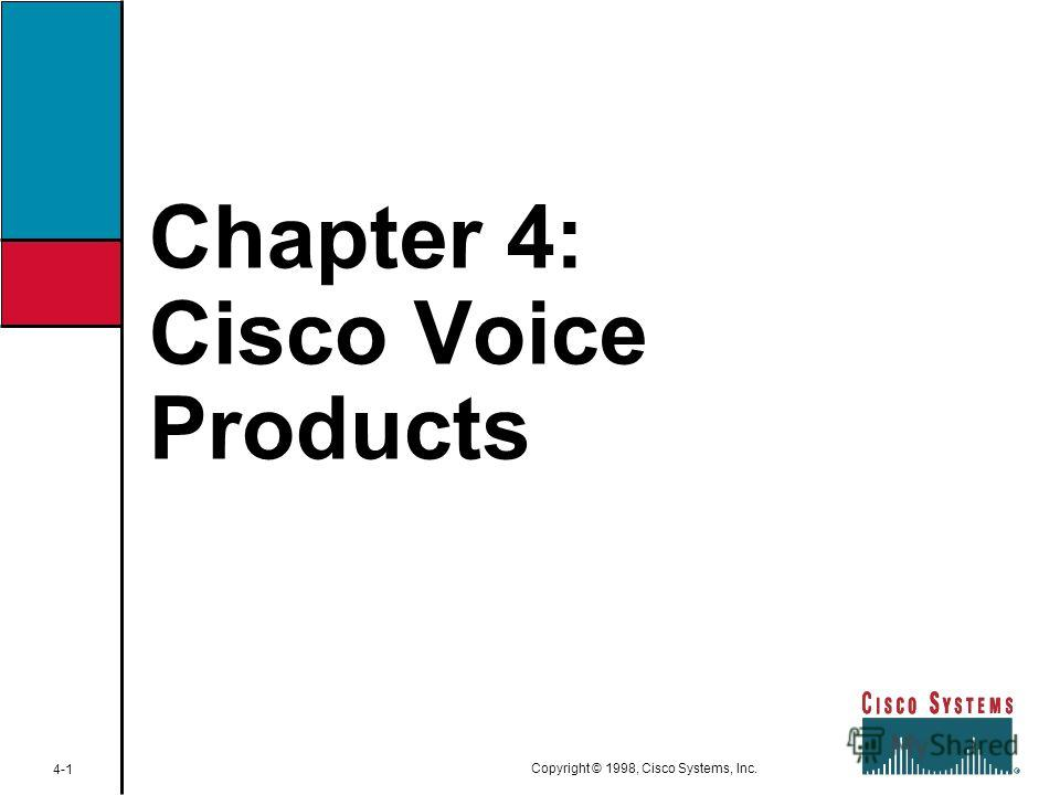 Chapter 4: Cisco Voice Products 4-1 Copyright © 1998, Cisco Systems, Inc.
