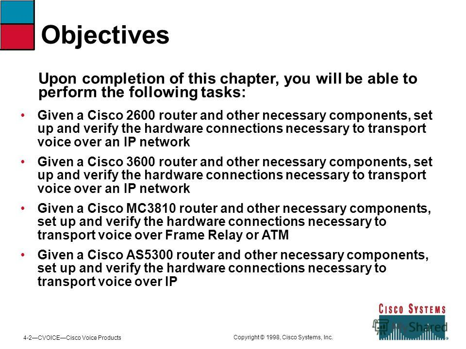 4-2CVOICECisco Voice Products Copyright © 1998, Cisco Systems, Inc. Given a Cisco 2600 router and other necessary components, set up and verify the hardware connections necessary to transport voice over an IP network Given a Cisco 3600 router and oth