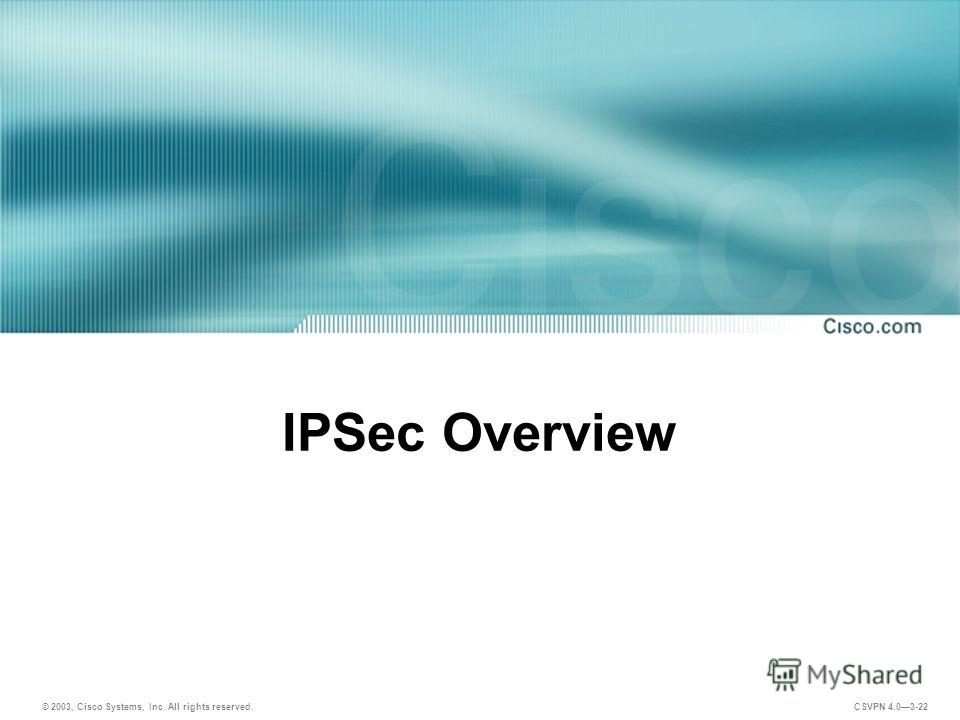 © 2003, Cisco Systems, Inc. All rights reserved. CSVPN 4.03-22 IPSec Overview