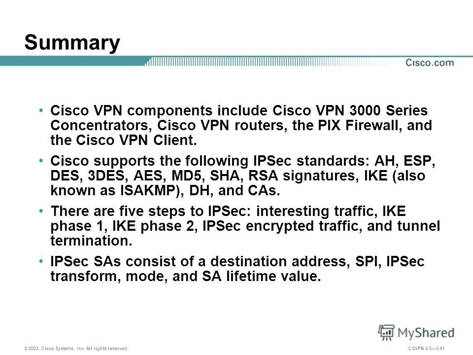© 2003, Cisco Systems, Inc. All rights reserved. CSVPN 4.03-61 Summary Cisco VPN components include Cisco VPN 3000 Series Concentrators, Cisco VPN routers, the PIX Firewall, and the Cisco VPN Client. Cisco supports the following IPSec standards: AH,