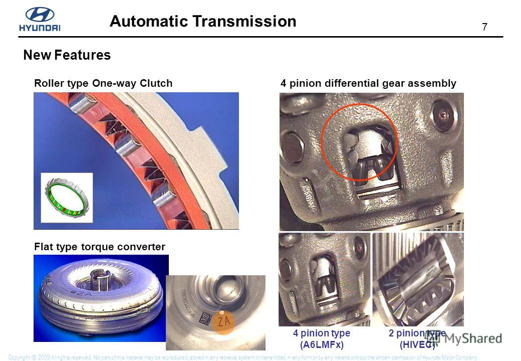 7 Automatic Transmission Copyright 2009 All rights reserved. No part of this material may be reproduced, stored in any retrieval system or transmitted in any form or by any means without the written permission of Hyundai Motor Company. New Features R