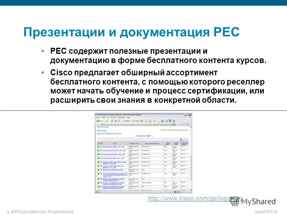 © 2007 Cisco Systems, Inc. All rights reserved. SMBAM v1.0-18 © 2006 Cisco Systems, Inc. All rights reserved. SMBUF-18 Презентации и документация PEC http://www.cisco.com/go/loginpec PEC содержит полезные презентации и документацию в форме бесплатног