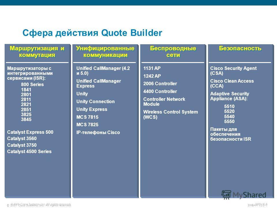 © 2007 Cisco Systems, Inc. All rights reserved. SMBAM v1.0-7 © 2006 Cisco Systems, Inc. All rights reserved. SMBUF-7 Сфера действия Quote Builder Маршрутизация и коммутация Унифицированные коммуникации Унифицированные коммуникации Беспроводные сети Б