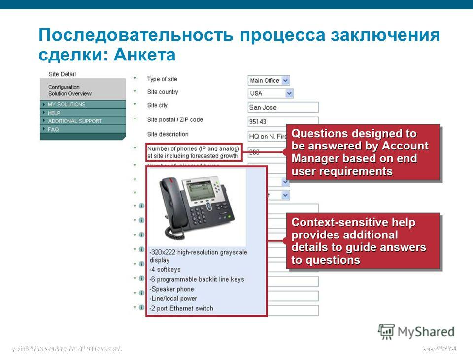 © 2007 Cisco Systems, Inc. All rights reserved. SMBAM v1.0-9 © 2006 Cisco Systems, Inc. All rights reserved. SMBUF-9 Последовательность процесса заключения сделки: Анкета