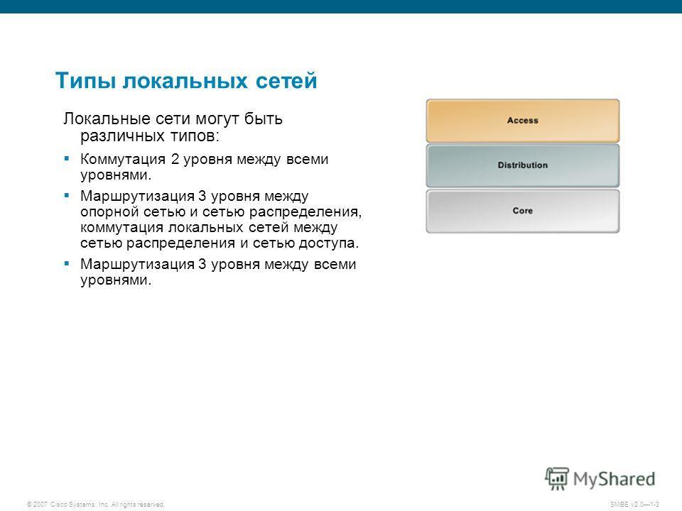 © 2007 Cisco Systems, Inc. All rights reserved. SMBE v2.01-3 Типы локальных сетей Локальные сети могут быть различных типов: Коммутация 2 уровня между всеми уровнями. Маршрутизация 3 уровня между опорной сетью и сетью распределения, коммутация локаль