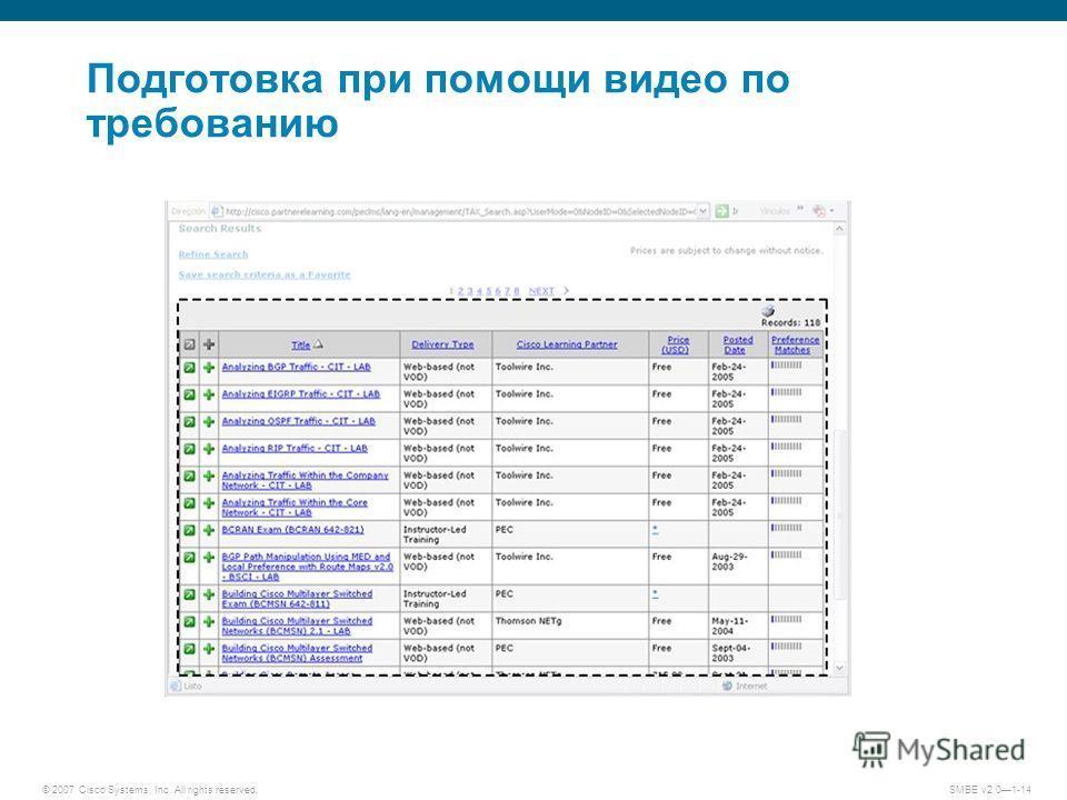 © 2007 Cisco Systems, Inc. All rights reserved. SMBE v2.01-14 Подготовка при помощи видео по требованию