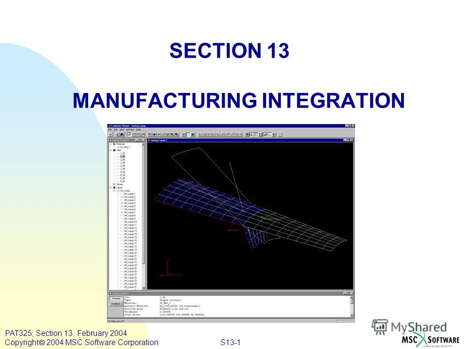 S13-1 PAT325, Section 13, February 2004 Copyright 2004 MSC.Software Corporation SECTION 13 MANUFACTURING INTEGRATION