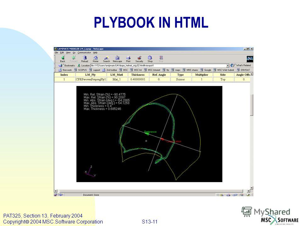 S13-11 PAT325, Section 13, February 2004 Copyright 2004 MSC.Software Corporation PLYBOOK IN HTML