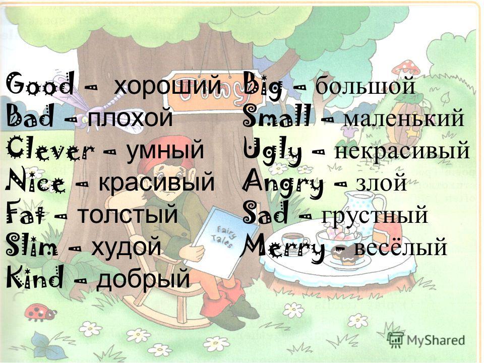 Good – хороший Bad – плохой Clever – умный Nice – красивый Fat – толстый Slim – худой Kind – добрый Big – большой Small – маленький Ugly – некрасивый Angry – злой Sad – грустный Merry - весёлый