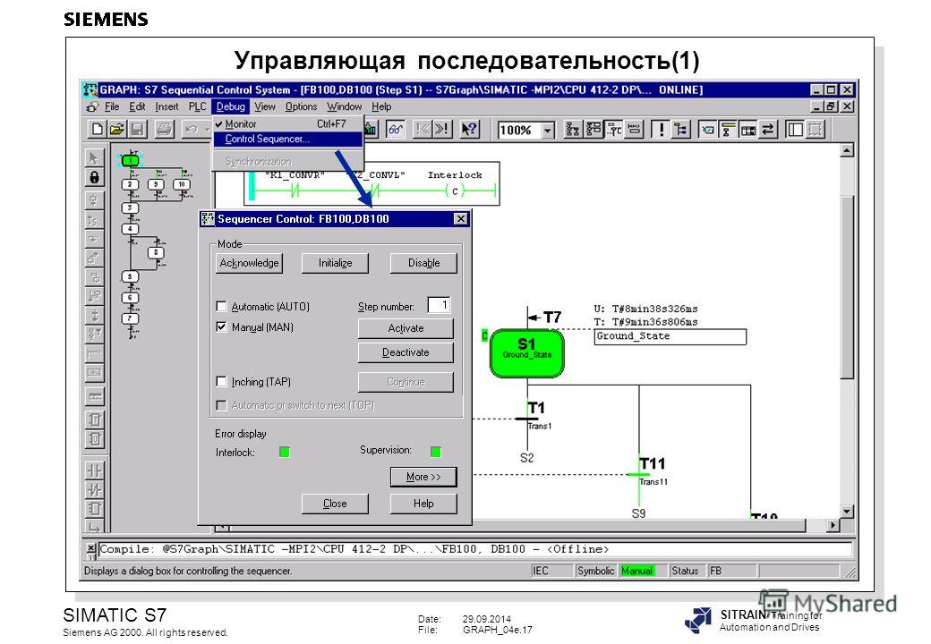 Date:29.09.2014 File:GRAPH_04e.17 SIMATIC S7 Siemens AG 2000. All rights reserved. SITRAIN Training for Automation and Drives Управляющая последовательность(1)