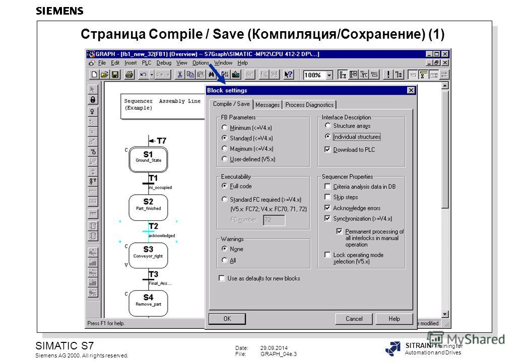 Date:29.09.2014 File:GRAPH_04e.3 SIMATIC S7 Siemens AG 2000. All rights reserved. SITRAIN Training for Automation and Drives Страница Compile / Save (Компиляция/Сохранение) (1)