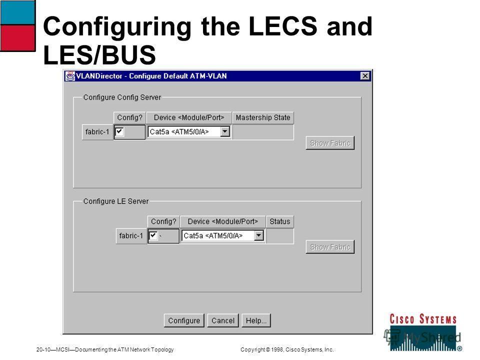 20-10MCSIDocumenting the ATM Network Topology Copyright © 1998, Cisco Systems, Inc. Configuring the LECS and LES/BUS