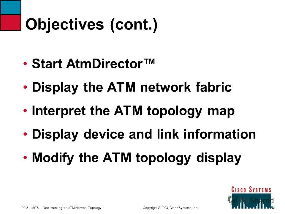 20-3MCSIDocumenting the ATM Network Topology Copyright © 1998, Cisco Systems, Inc. Start AtmDirector Display the ATM network fabric Interpret the ATM topology map Display device and link information Modify the ATM topology display Objectives (cont.)