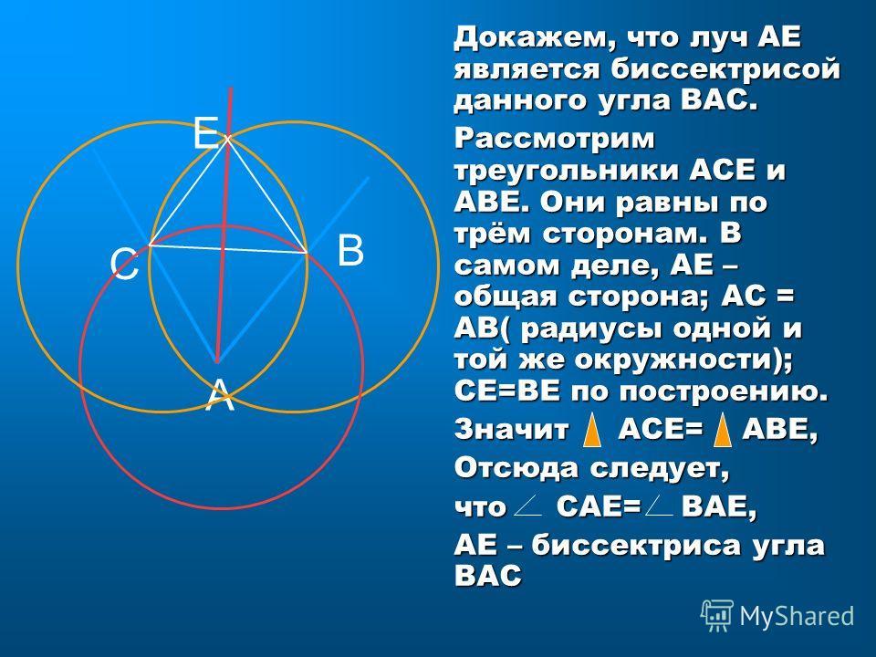 С А В Е Докажем, что луч АЕ является биссектрисой данного угла ВАС. Рассмотрим треугольники АСЕ и АВЕ. Они равны по трём сторонам. В самом деле, АЕ – общая сторона; АС = АВ( радиусы одной и той же окружности); СЕ=ВЕ по построению. Значит АСЕ= АВЕ, От