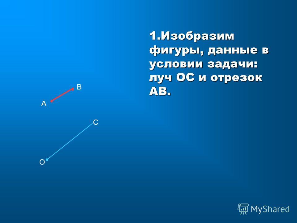 В А 1. Изобразим фигуры, данные в условии задачи: луч ОС и отрезок АВ. О С