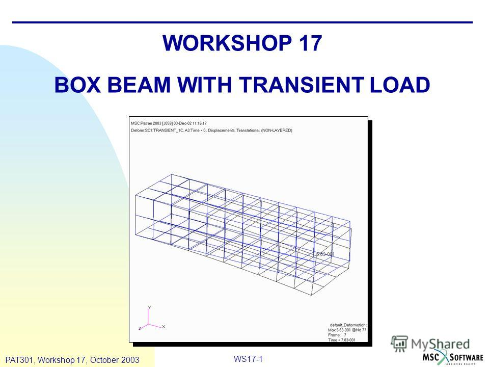 WS17-1 PAT301, Workshop 17, October 2003 WORKSHOP 17 BOX BEAM WITH TRANSIENT LOAD