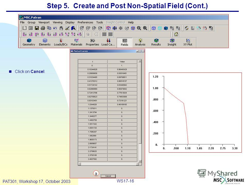WS17-16 PAT301, Workshop 17, October 2003 Step 5. Create and Post Non-Spatial Field (Cont.) nClick on Cancel. a