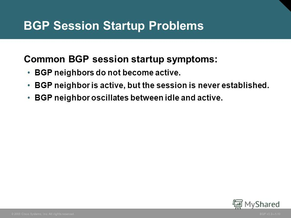 © 2005 Cisco Systems, Inc. All rights reserved. BGP v3.21-10 BGP Session Startup Problems Common BGP session startup symptoms: BGP neighbors do not become active. BGP neighbor is active, but the session is never established. BGP neighbor oscillates b