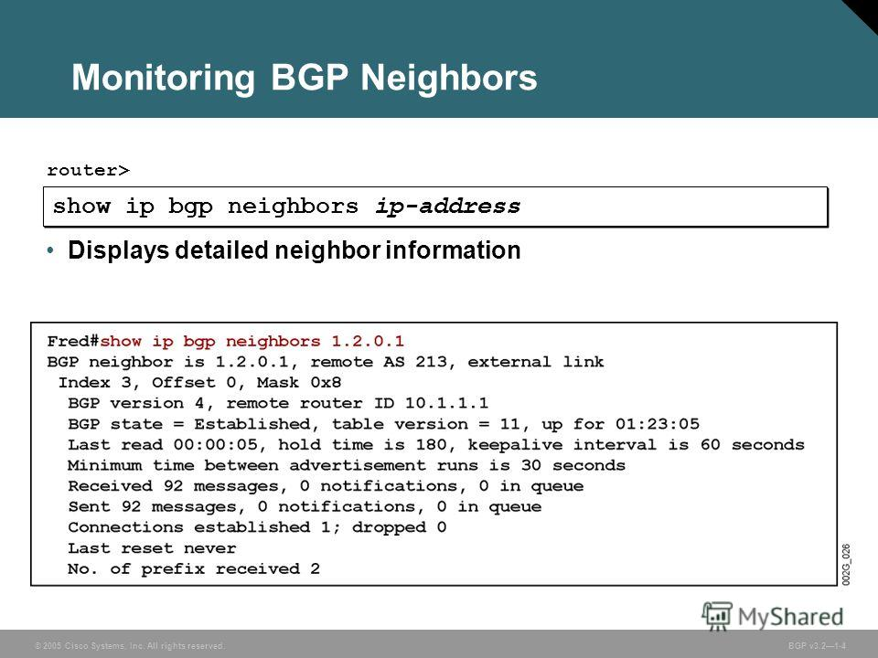 © 2005 Cisco Systems, Inc. All rights reserved. BGP v3.21-4 Monitoring BGP Neighbors show ip bgp neighbors ip-address router> Displays detailed neighbor information