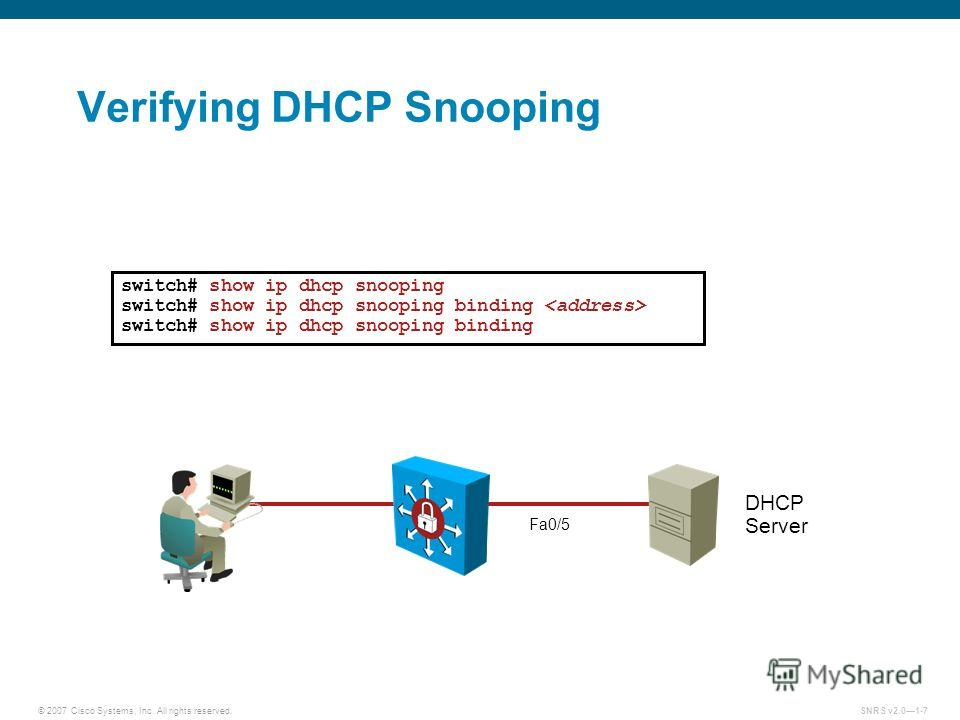 © 2007 Cisco Systems, Inc. All rights reserved.SNRS v2.01-7 Verifying DHCP Snooping switch# show ip dhcp snooping switch# show ip dhcp snooping binding switch# show ip dhcp snooping binding Fa0/5 DHCP Server