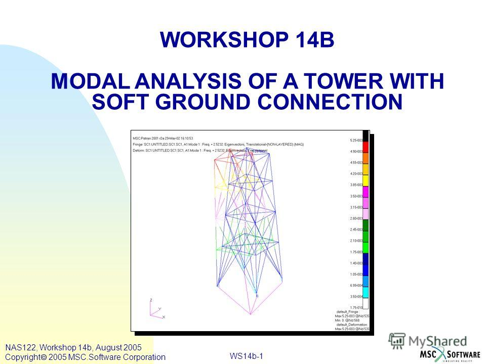 WS14b-1 WORKSHOP 14B MODAL ANALYSIS OF A TOWER WITH SOFT GROUND CONNECTION NAS122, Workshop 14b, August 2005 Copyright 2005 MSC.Software Corporation