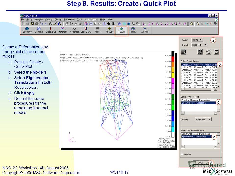 WS14b-17 NAS122, Workshop 14b, August 2005 Copyright 2005 MSC.Software Corporation Step 8. Results: Create / Quick Plot Create a Deformation and Fringe plot of the normal modes. a.Results: Create / Quick Plot. b.Select the Mode 1. c.Select Eigenvecto