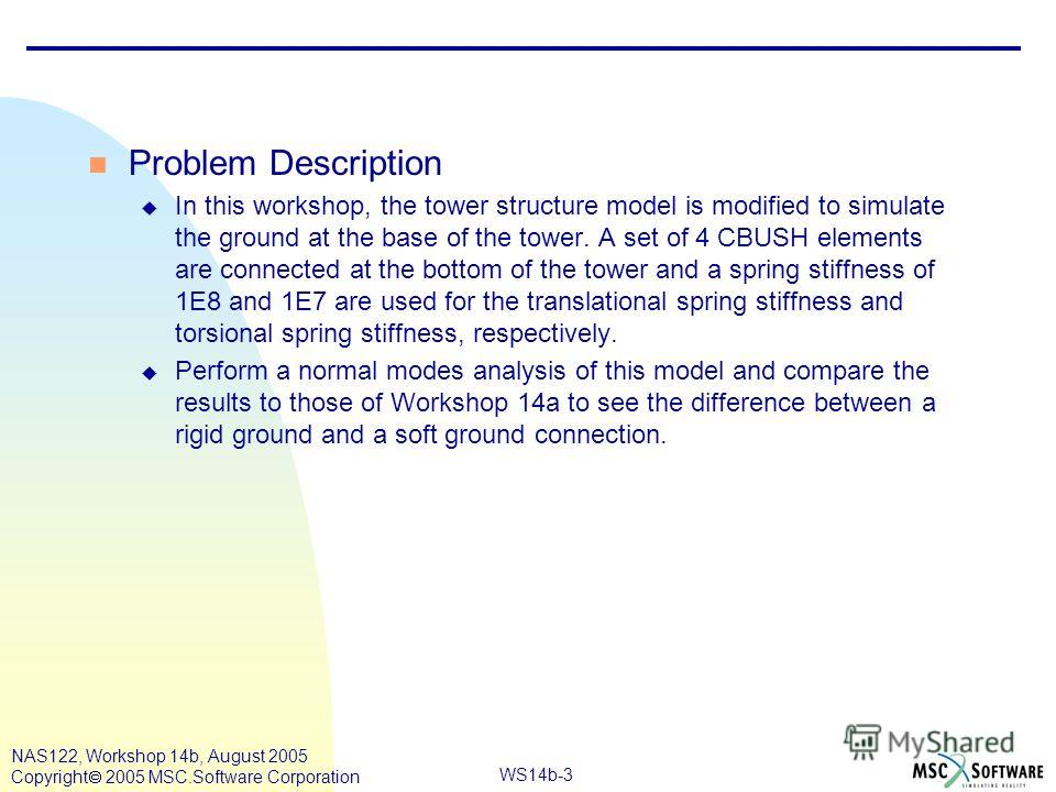 WS14b-3 NAS122, Workshop 14b, August 2005 Copyright 2005 MSC.Software Corporation n Problem Description u In this workshop, the tower structure model is modified to simulate the ground at the base of the tower. A set of 4 CBUSH elements are connected
