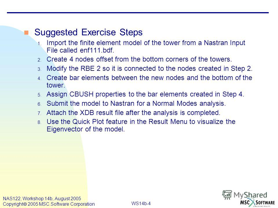 WS14b-4 NAS122, Workshop 14b, August 2005 Copyright 2005 MSC.Software Corporation n Suggested Exercise Steps 1. Import the finite element model of the tower from a Nastran Input File called enf111.bdf. 2. Create 4 nodes offset from the bottom corners