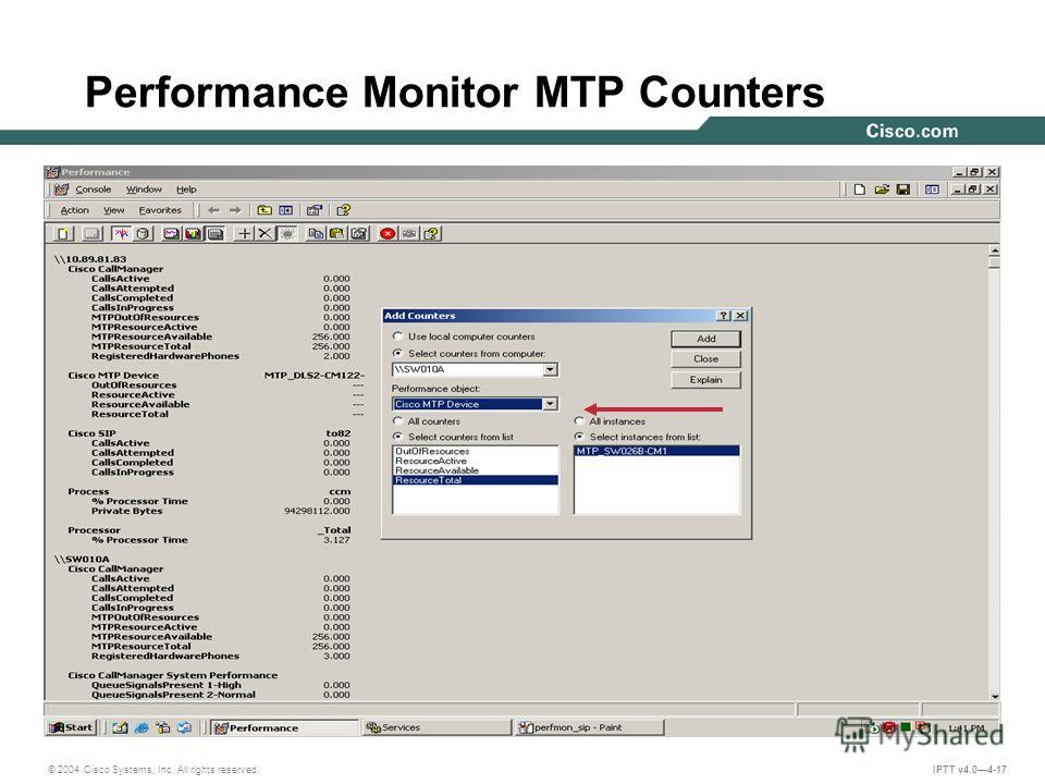 © 2004 Cisco Systems, Inc. All rights reserved. IPTT v4.04-17 Performance Monitor MTP Counters