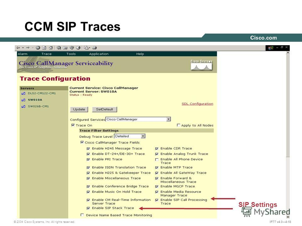 © 2004 Cisco Systems, Inc. All rights reserved. IPTT v4.04-18 SIP Settings CCM SIP Traces