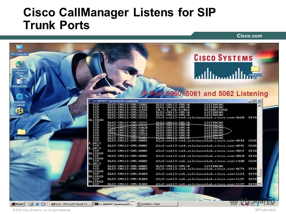 © 2004 Cisco Systems, Inc. All rights reserved. IPTT v4.04-21 IP Port 5060, 5061 and 5062 Listening Cisco CallManager Listens for SIP Trunk Ports
