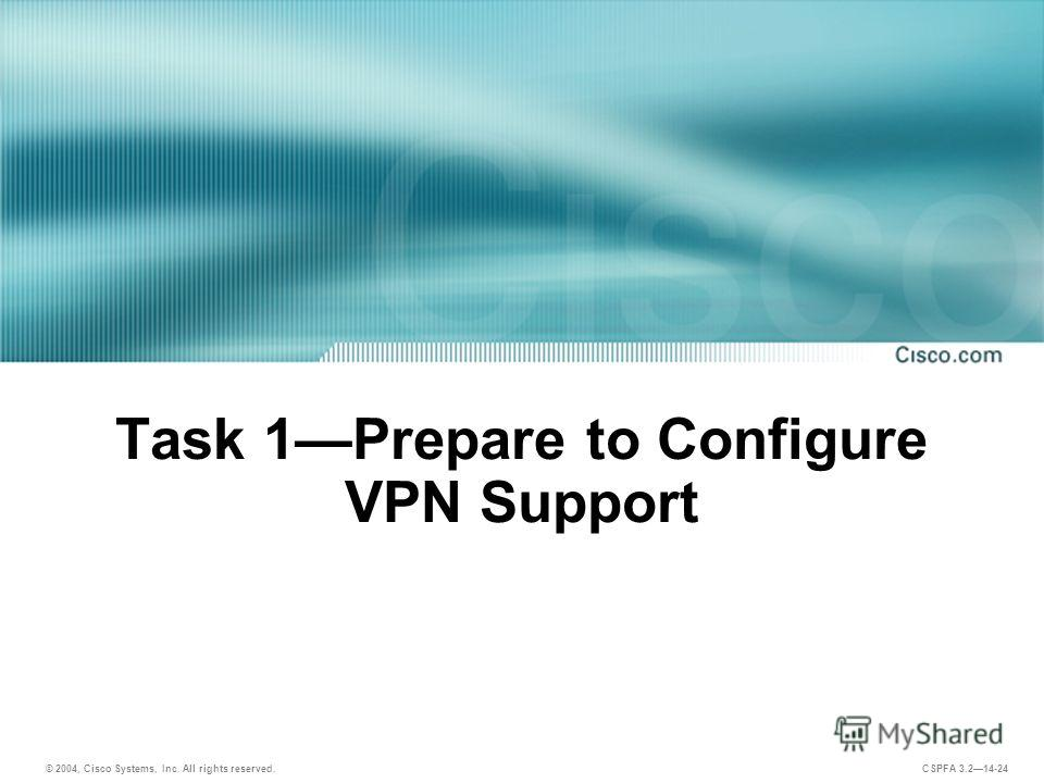 © 2004, Cisco Systems, Inc. All rights reserved. CSPFA 3.214-24 Task 1Prepare to Configure VPN Support