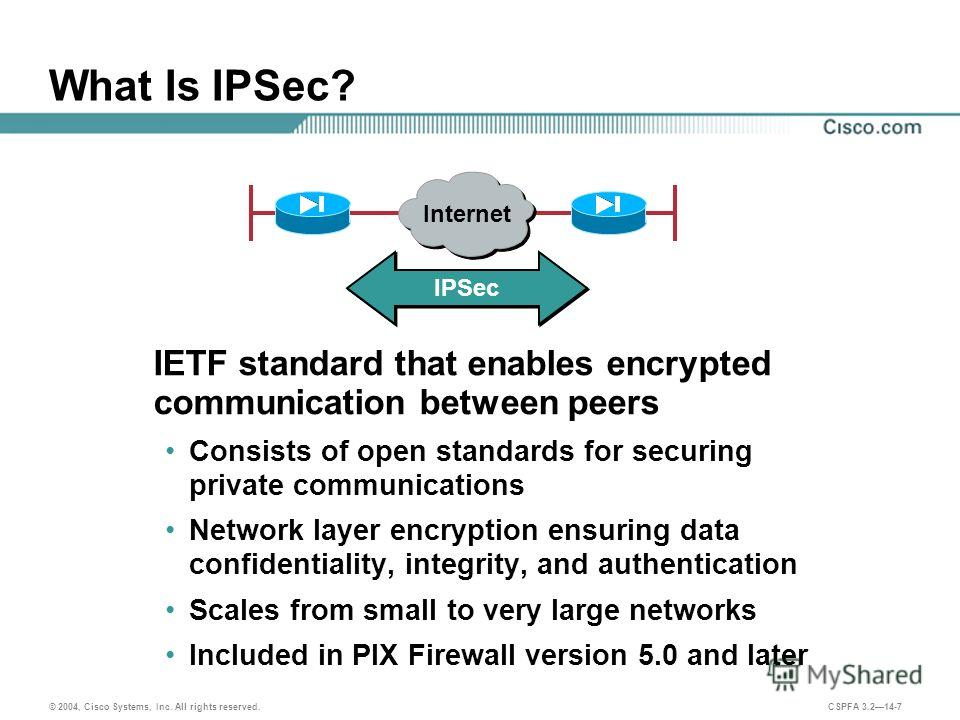 © 2004, Cisco Systems, Inc. All rights reserved. CSPFA 3.214-7 What Is IPSec? IETF standard that enables encrypted communication between peers Consists of open standards for securing private communications Network layer encryption ensuring data confi