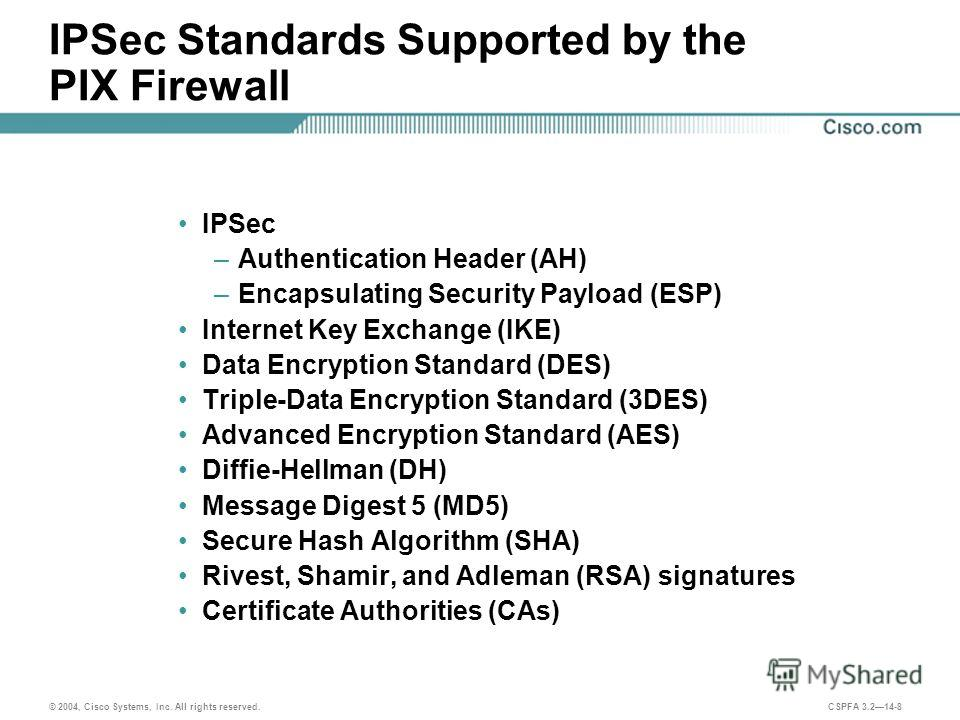 © 2004, Cisco Systems, Inc. All rights reserved. CSPFA 3.214-8 IPSec Standards Supported by the PIX Firewall IPSec –Authentication Header (AH) –Encapsulating Security Payload (ESP) Internet Key Exchange (IKE) Data Encryption Standard (DES) Triple-Dat