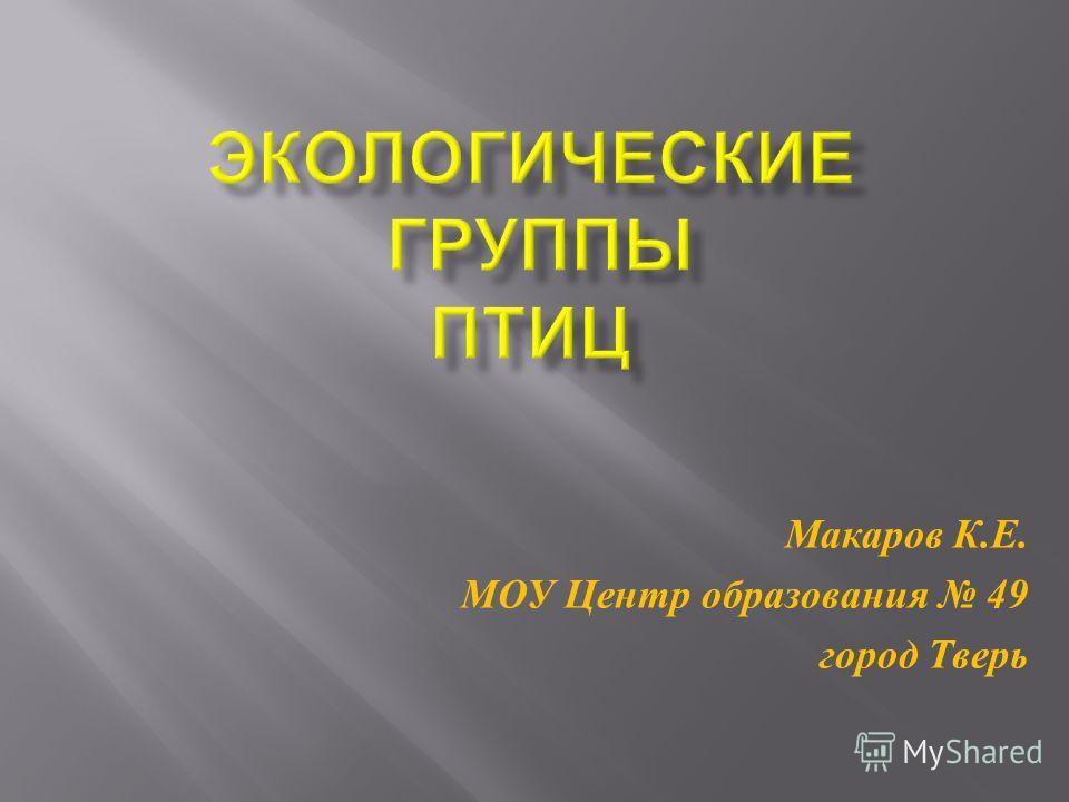 Макаров К. Е. МОУ Центр образования 49 город Тверь