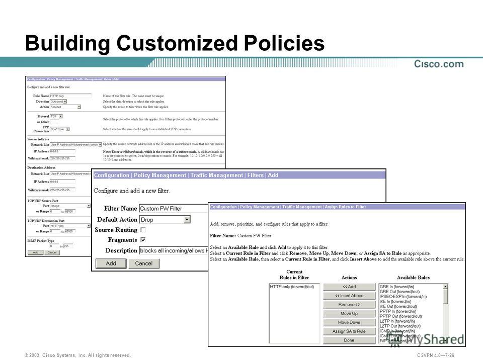 © 2003, Cisco Systems, Inc. All rights reserved. CSVPN 4.07-26 Building Customized Policies