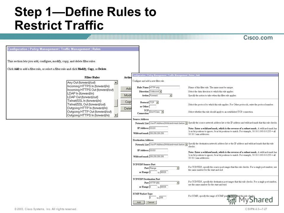 © 2003, Cisco Systems, Inc. All rights reserved. CSVPN 4.07-27 Step 1Define Rules to Restrict Traffic
