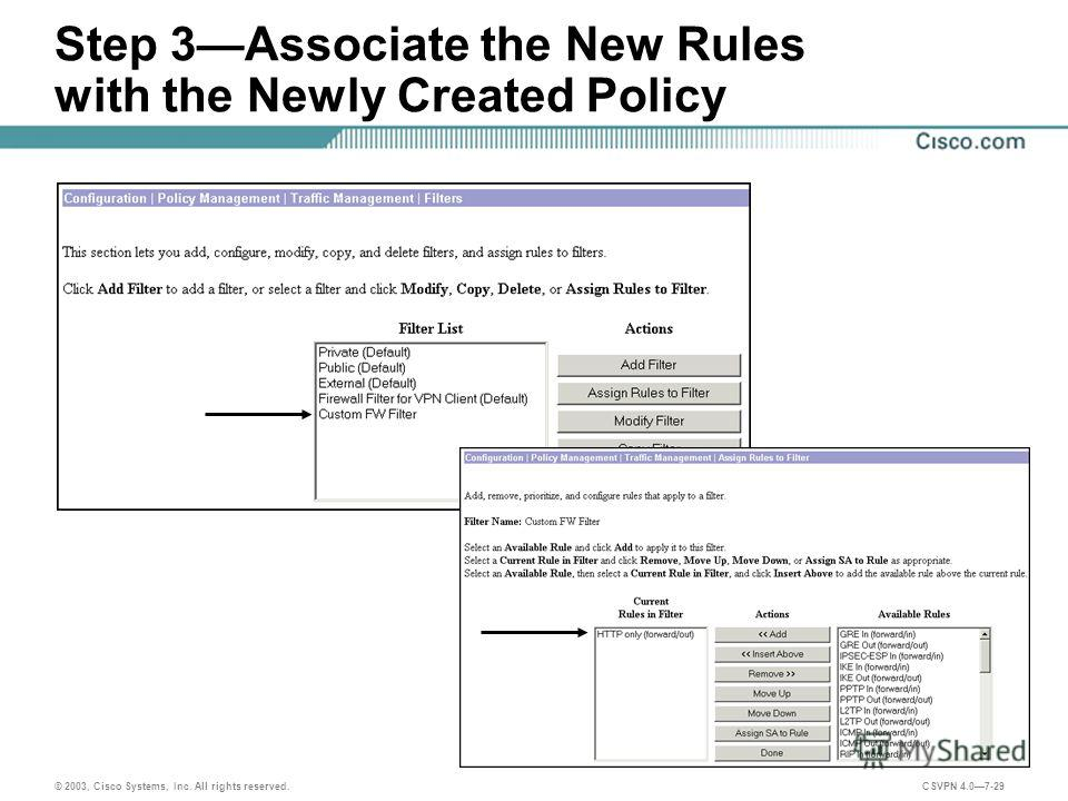 © 2003, Cisco Systems, Inc. All rights reserved. CSVPN 4.07-29 Step 3Associate the New Rules with the Newly Created Policy