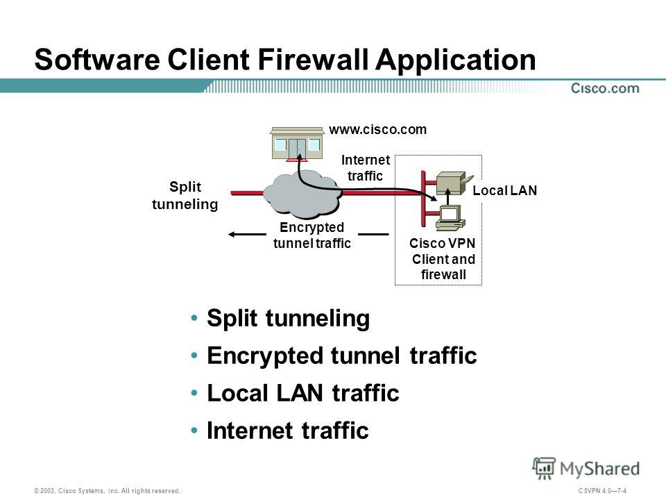© 2003, Cisco Systems, Inc. All rights reserved. CSVPN 4.07-4 Software Client Firewall Application Split tunneling Encrypted tunnel traffic Local LAN traffic Internet traffic www.cisco.com Cisco VPN Client and firewall Encrypted tunnel traffic Intern