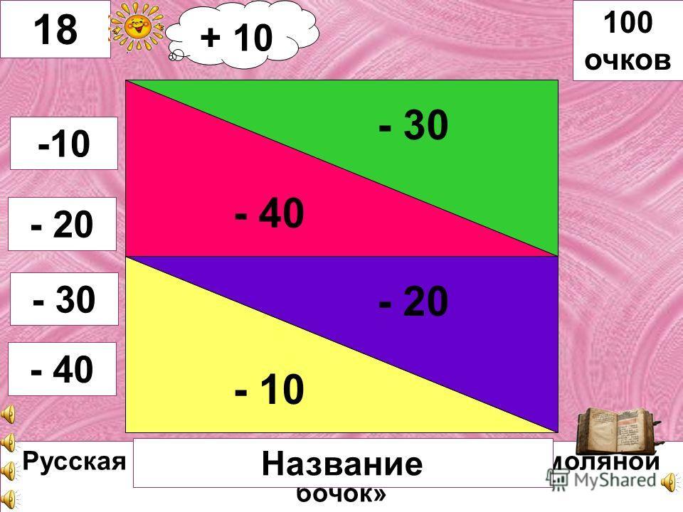К.И. Чуковский «Тараканище» - 20 - 10 - 30 - 40 17 -10 -20 -30 - 40 100 очков Автор, название Автор книги + 20 очков + 20 + 10