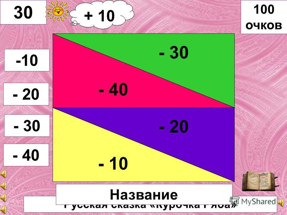 Русская сказка «Лисичка со скалочкой» - 20 - 10 - 40 - 30 29 -10 -20 -30 - 40 100 очков Название + 10