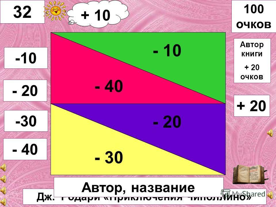Русская сказка «Каша из топора» - 40 - 20 - 10 - 30 31 -10 - 20 -30 - 40 100 очков Название + 10