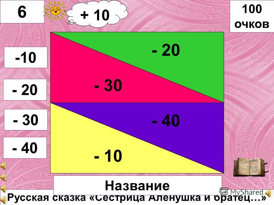 В. Катаев «Цветик – семицветик» - 20 - 10 - 30 - 40 5 -10 -20 -30 - 40 100 очков Автор, название Автор книги + 20 очков + 20 + 10