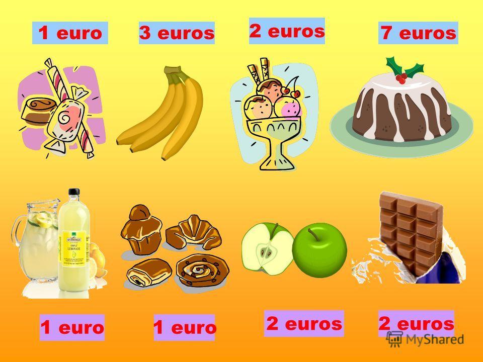 1 euro 2 euros 3 euros7 euros 2 euros