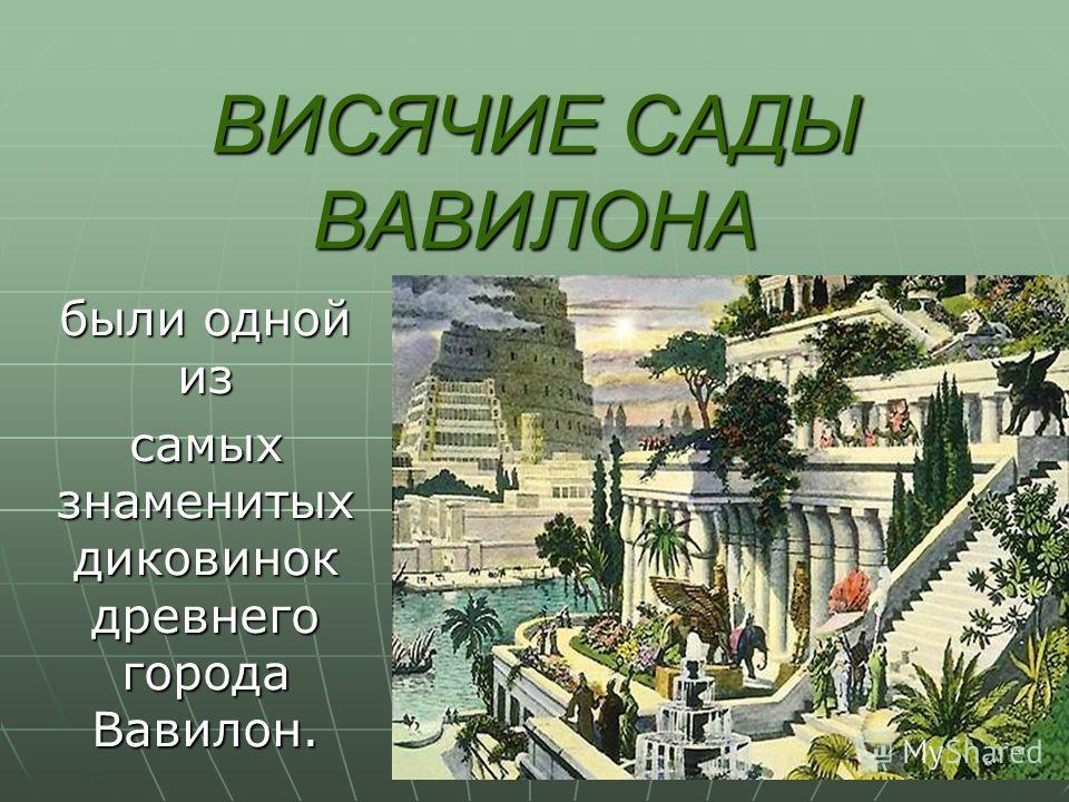 ВИСЯЧИЕ САДЫ ВАВИЛОНА были одной из самых знаменитых диковинок древнего города Вавилон.