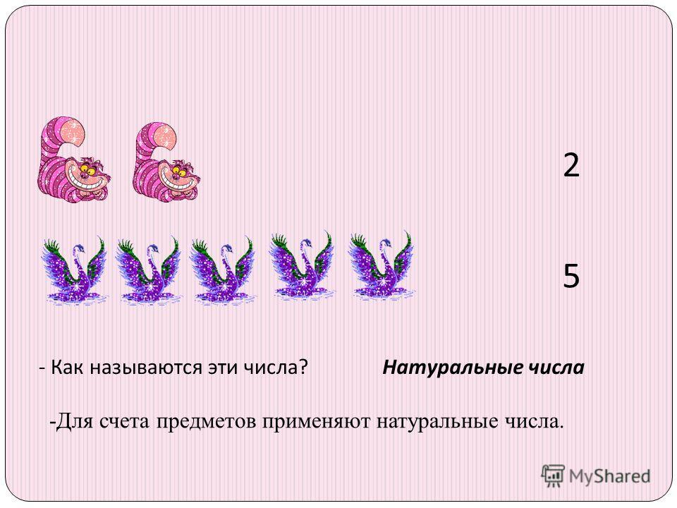 2 5 - Как называются эти числа?Натуральные числа -Для счета предметов применяют натуральные числа.