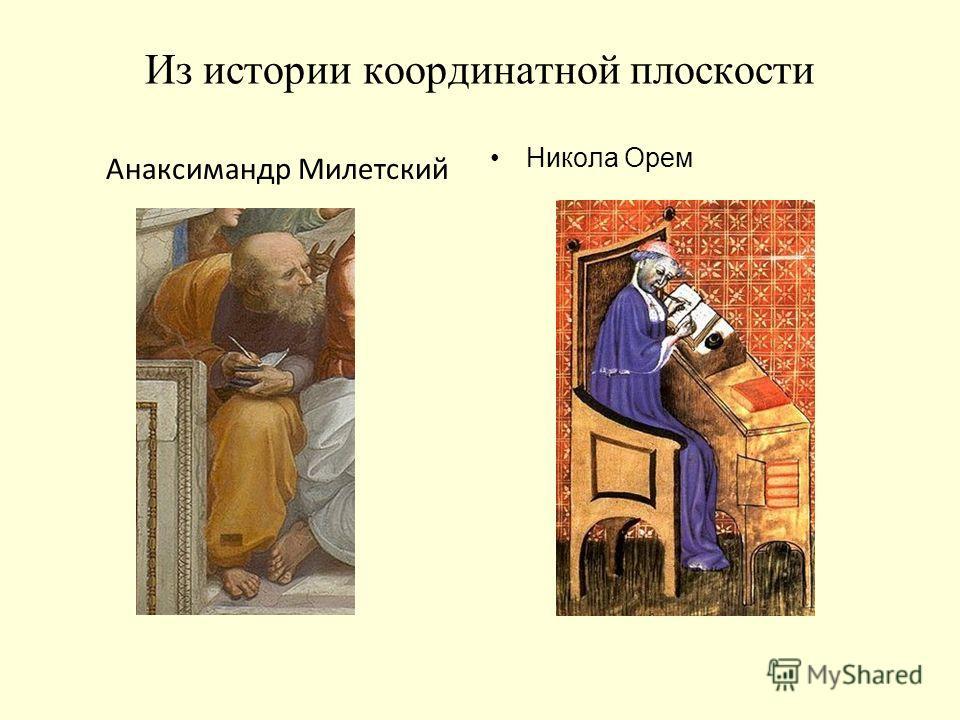 Из истории координатной плоскости Никола Орем Анаксимандр Милетский