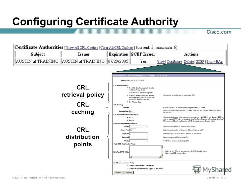 © 2003, Cisco Systems, Inc. All rights reserved. CSVPN 4.017-23 Configuring Certificate Authority CRL retrieval policy CRL caching CRL distribution points
